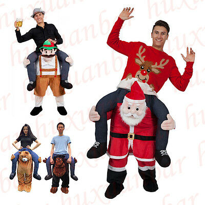 Santa Claus Bear Ride On Christmas Mascot Carry Outfit Fancy Dress Costume Adult