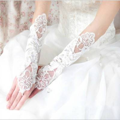 Lady Bride Wedding Gloves Fingerless Pearl Lace Satin Bridal Dress Prom Party