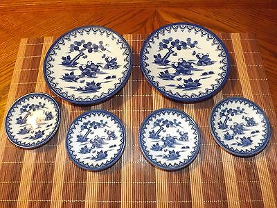 1/2 PRICE TODAY ONLY/ READ! - ANTIQUE - RARE Blue Asia Dishes - Boys meadow 6 pc