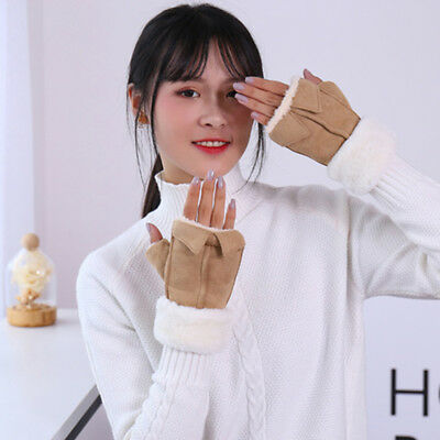 Women Winter Solid Color Fingerless Mittens Warm Knitted Wrist Gloves LD