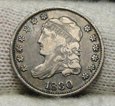 1830 Capped Bust Half Dime H10C 5 Cents - Nice Old Coin, Free Shipping  (7668)