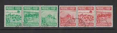 1953 Australia Food Production SG 255/60 in Strips 3 FU