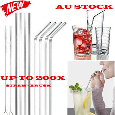 100x Stainless Steel Metal Drinking Straw Straws Bent Reusable Washable + Brush