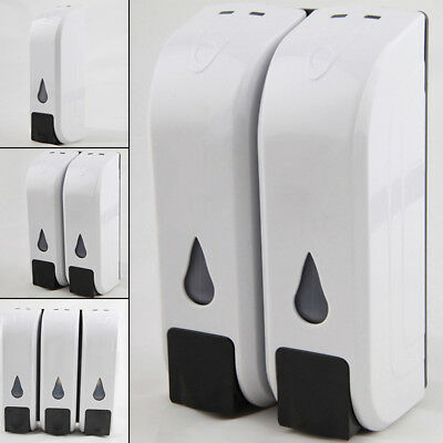 White Wall Mount Liquid Soap Dispenser Bathroom Shower Shampoo ABS