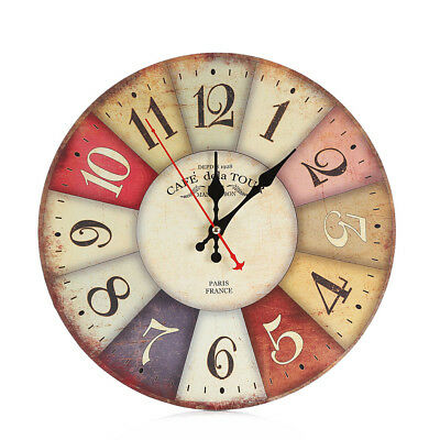 Vintage Antique Round Digital Wall Clock Kitchen Dining Room Wooden Clock Decor