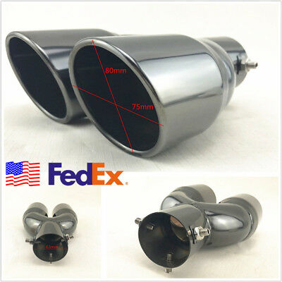 "US Stock Titan Black 2.5"" Inlet Angled Autos Round Dual Exhaust Tip Pipe Muffler"