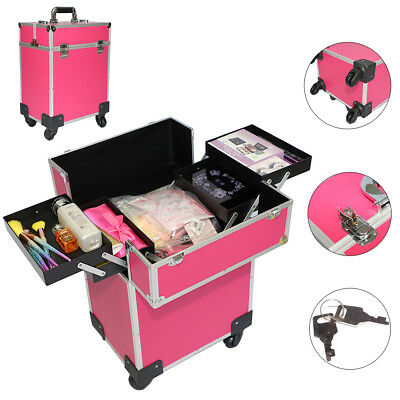 Professional Handle Makeup Beauty Case Salon Spa Organizer Trolley Lockable Pink