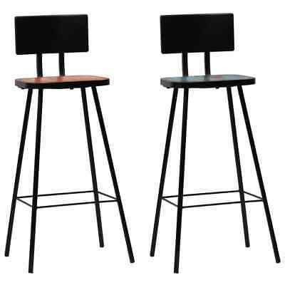 vidaXL 2x Solid Reclaimed Wood Bar Chairs Multicolour Kitchen Furniture Seat