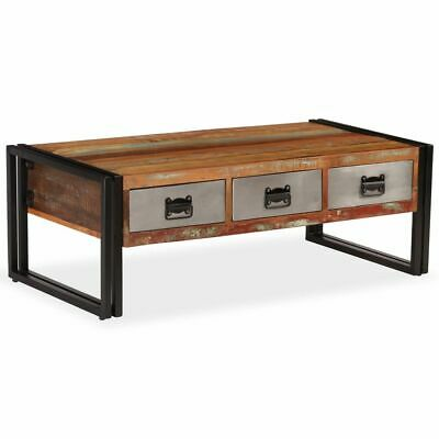vidaXL Solid Reclaimed Wood Coffee Table with 3 Drawers 100x50x35cm Furniture