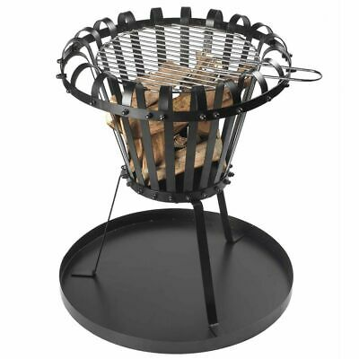 Perel Fire Basket with Ash Pan Round Black Fireplace Barbecue Appliance BB650