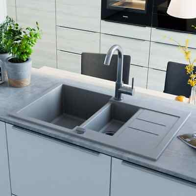 vidaXL Granite Kitchen Sink Double Basin Grey Overmount with Basket Strainer