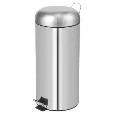 Perel Pedal Bin Round 30L Silver Home Office Rubbish Trash Waste Can HP100104