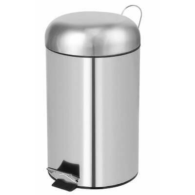 Perel Pedal Bin Round 12L Silver Home Office Rubbish Trash Waste Can HP100102