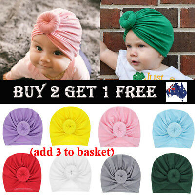 Infant Baby Turban Toddler Kids Boy Girl Cotton Blends Hat Lovely Soft Solid Hat