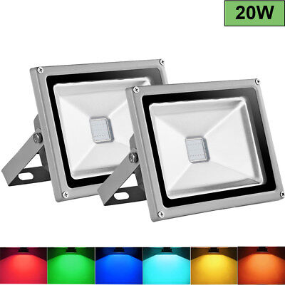2X 20W LED Floodlight RGB 16 Colors Changing Outdoor Garden Spotlight +Remote UK