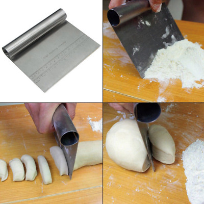 1X Stainless Steel Pizza Dough Scraper Cutter With Scale Baking Pastry Cake Tool