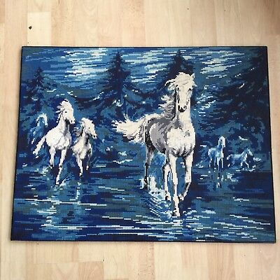 Completed French Vintage Tapestry, White Horses Stunning