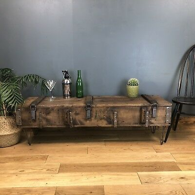 Vintage wooden Trunk Chest box Rustic Industrial Coffee table Ammo Rifle