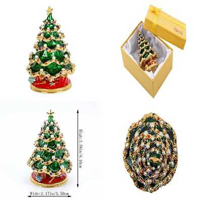 Hand Painted Enameled Christmas Tree Decorative Hinged Jewelry Trinket Box Uniqu
