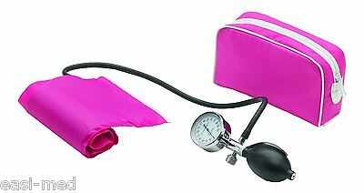 PINK Aneroid Sphygmomanometer Blood Pressure Cuff - One Single Hand Version