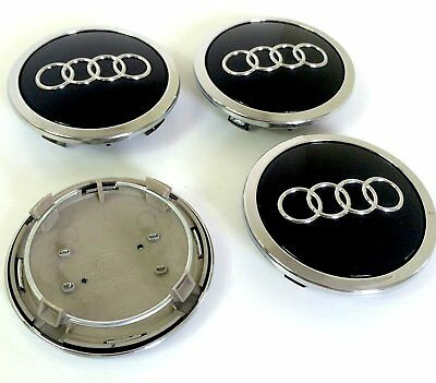 4 x 69mm Audi Schwarz Black Nabendeckel Felgendeckel Allufelge Alloy Wheel Cap