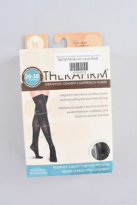 Therafirm Moderate Thigh High Stockings Unisex Large Black Compression 20-30