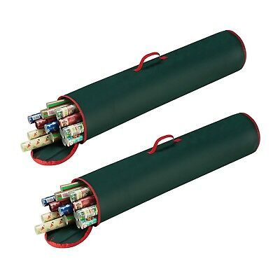 2 Pack Green 40 Inch Christmas Wrapping Paper Storage Bag Tube Handle Zipper