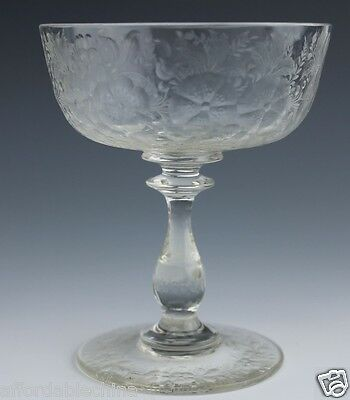 Finely Cut Flowers Glass Goblet Wafer Stem Cut Foot - Beautiful