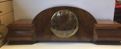 Extra wide German walnut cased mantel clock .Westminster chime