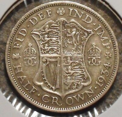 British Silver Half Crown - 1934 - King George V - $1 Unlimited Shipping