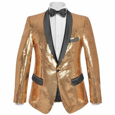 vidaXL Men's Sequin Dinner Jacket Tuxedo Blazer Gold Size 46 with Black Tie