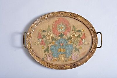 Nice Antique 18Th Century Ottoman Greek Armenian Yaglik Embroidery Textile Tray