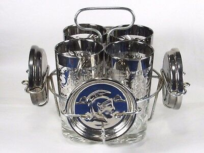 Kimiko Silver Roman Gladiator Bar Set,Whisky Cocktail Glasses Coasters Rack NICE