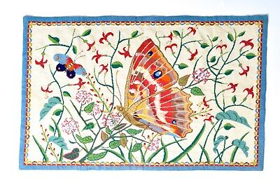 Stunning Large Old Greek Hand Stitched Butterfly Tapestry Mid-Century