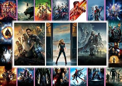 Marvel MCU Captain Marvel, Iron Man, Thor, Hulk  A5 A4 A3 Textless movie Posters