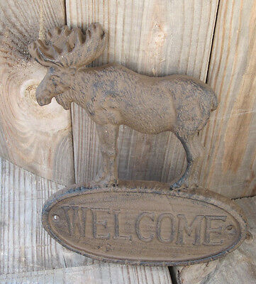 2 Cast Iron Welcome Elk Moose Sign Home Cabin Lodge Door Wall Metal Plate Plaque