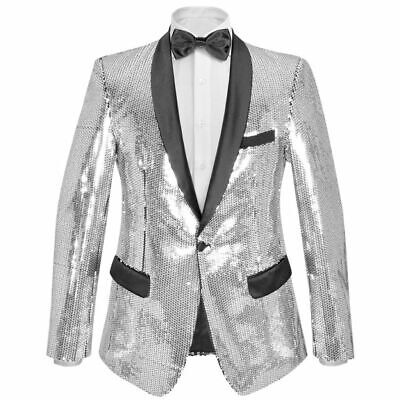 vidaXL Men's Sequin Dinner Jacket Tuxedo Blazer Silver Size 46 with Black Tie