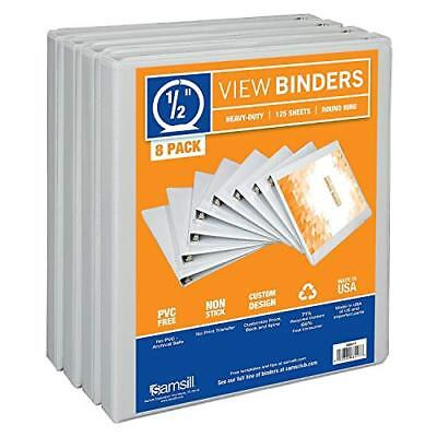Samsill 3 Ring Durable View Binders - 8 Pack, 1/2 Inch Round Ring , Non-Stick