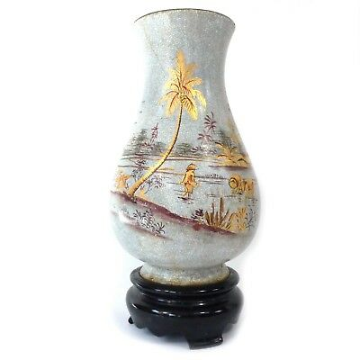 Vintage Japanese Japan Lacquerware Lacquered Crackled Vase w/ Stand 9.50""