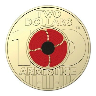 2018- Remembrance Day Armistice Centenary $2 UNC Coloured Coin From Mint Roll