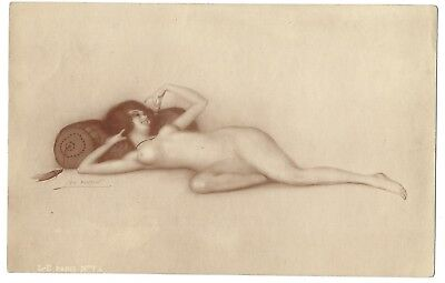 Leo Fontan Boudoir Nude RIsque Vintage Drawing print Sepia Colored 1920's France