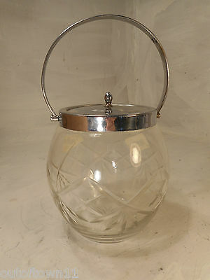 Crome  Plated Cut Glass Biscuit Barrel    ref 278