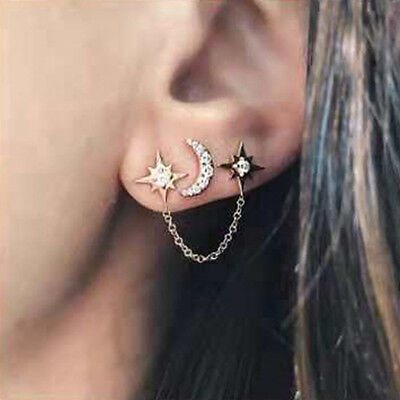 Rhinestone Women Girl Vintage Earrings Silver Long Moon Star Chain Stud Jewelry