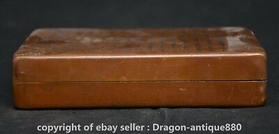 "7"" Marked Rare Old Antique Chinese Copper Dynasty Ink Box Ink Cartridge Boxes S"
