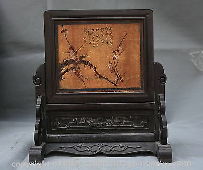 "11""Rare Old Antique Chinese Wood Lacquerware Dynasty Flower Words Screen Statue"