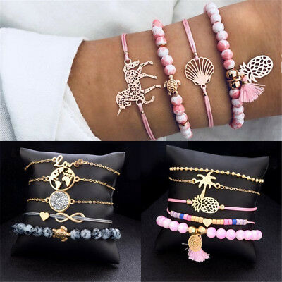 5PCS Women Animal Horse Tree Tassels Round Bead Bracelet Bangle Chain Jewelry