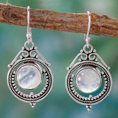 Vintage Silver Toned Boho Moonstone Dangle Drop Hook Earrings Women Jewelry BS