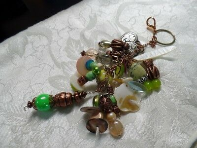 Copper-tone Green Shades Chunky Beaded Purse Dangle Handcrafted