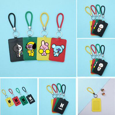 1pc Kpop BTS Card Holder Cartoon Credit Bus ID Card Case Badge Lanyard Keychain