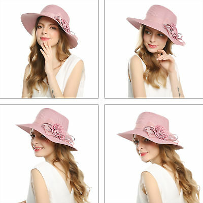 Foldable Straw Summer Sun Hats for Women Wide Brimmed Flower Hat for Travel Cap